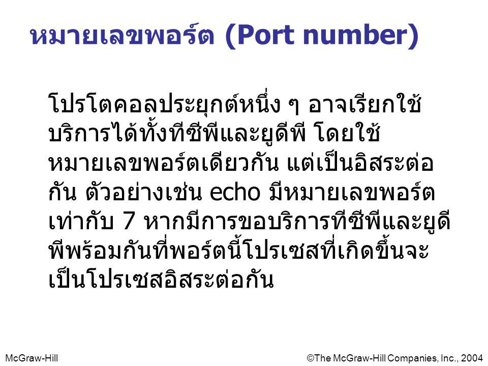 McGraw-Hill©The McGraw-Hill Companies, Inc., 2004 หมายเลขพอร์ต (Port number) โปรโตคอลประยุกต์หนึ่ง ๆ อาจเรียกใช้ บริการได้ทั้งทีซีพีและยูดีพี โดยใช้ หมายเลขพอร์ตเดียวกัน แต่เป็นอิสระต่อ กัน ตัวอย่างเช่น echo มีหมายเลขพอร์ต เท่ากับ 7 หากมีการขอบริการทีซีพีและยูดี พีพร้อมกันที่พอร์ตนี้โปรเซสที่เกิดขึ้นจะ เป็นโปรเซสอิสระต่อกัน