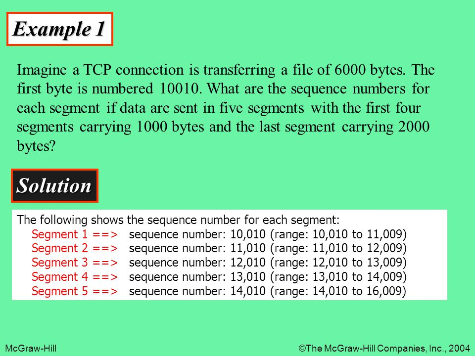 McGraw-Hill©The McGraw-Hill Companies, Inc., 2004 Example 1 Imagine a TCP connection is transferring a file of 6000 bytes. The first byte is numbered