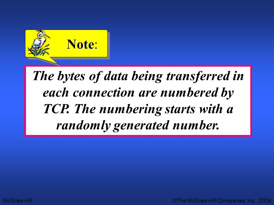 McGraw-Hill©The McGraw-Hill Companies, Inc., 2004 The bytes of data being transferred in each connection are numbered by TCP. The numbering starts wit