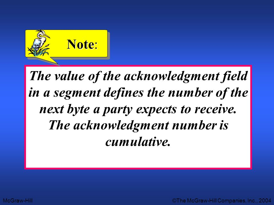 McGraw-Hill©The McGraw-Hill Companies, Inc., 2004 The value of the acknowledgment field in a segment defines the number of the next byte a party expec
