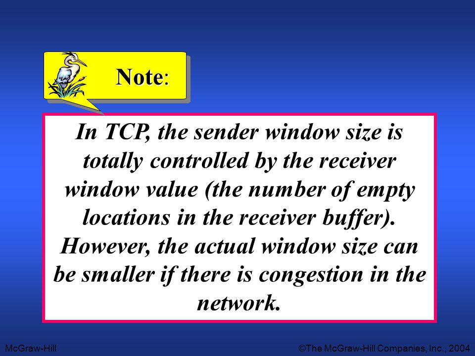 McGraw-Hill©The McGraw-Hill Companies, Inc., 2004 In TCP, the sender window size is totally controlled by the receiver window value (the number of emp