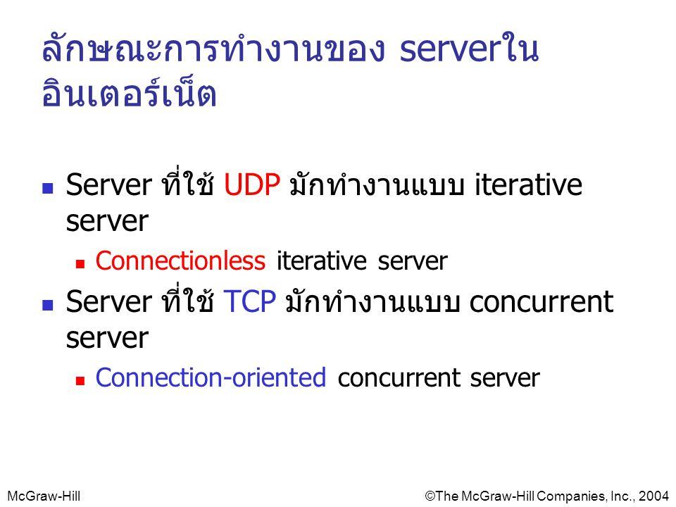 McGraw-Hill©The McGraw-Hill Companies, Inc., 2004 ลักษณะการทำงานของ serverใน อินเตอร์เน็ต Server ที่ใช้ UDP มักทำงานแบบ iterative server Connectionless iterative server Server ที่ใช้ TCP มักทำงานแบบ concurrent server Connection-oriented concurrent server