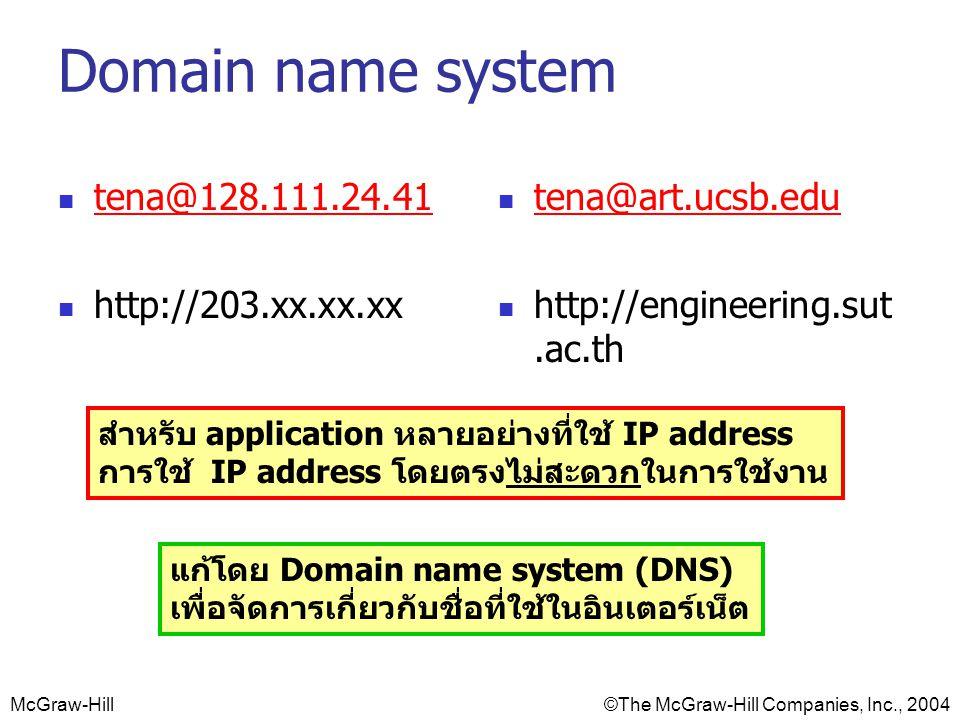 McGraw-Hill©The McGraw-Hill Companies, Inc., 2004 Domain name system tena@128.111.24.41 http://203.xx.xx.xx tena@art.ucsb.edu http://engineering.sut.ac.th สำหรับ application หลายอย่างที่ใช้ IP address การใช้ IP address โดยตรงไม่สะดวกในการใช้งาน แก้โดย Domain name system (DNS) เพื่อจัดการเกี่ยวกับชื่อที่ใช้ในอินเตอร์เน็ต