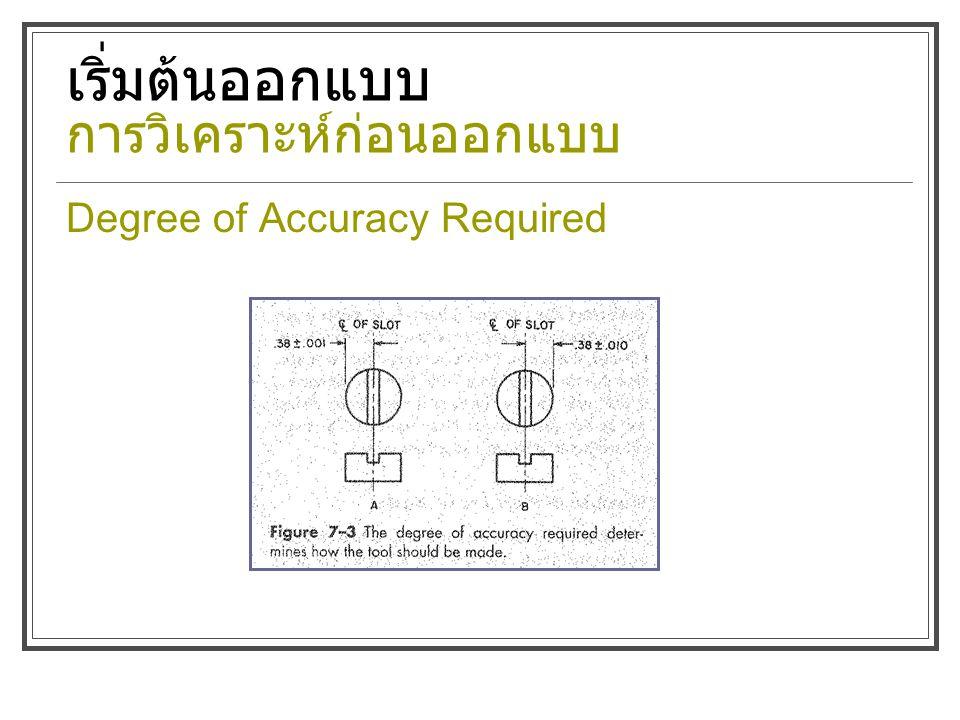 เริ่มต้นออกแบบ การวิเคราะห์ก่อนออกแบบ Degree of Accuracy Required
