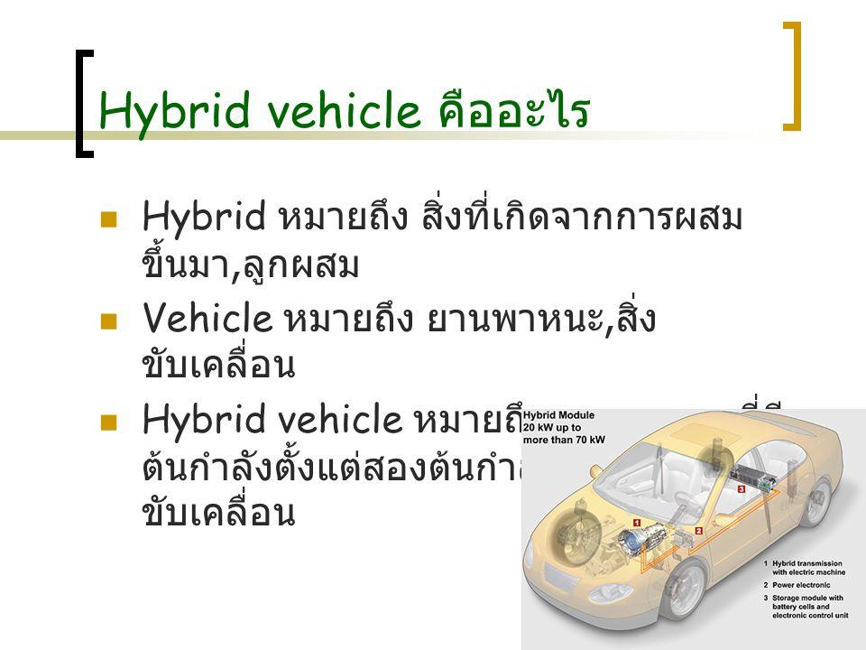 Hybrid vehicle ค ืออะไร Hybrid หมายถึง สิ่งที่เกิดจากการผสม ขึ้นมา, ลูกผสม Vehicle หมายถึง ยานพาหนะ, สิ่ง ขับเคลื่อน Hybrid vehicle หมายถึง ยานพาหนะที