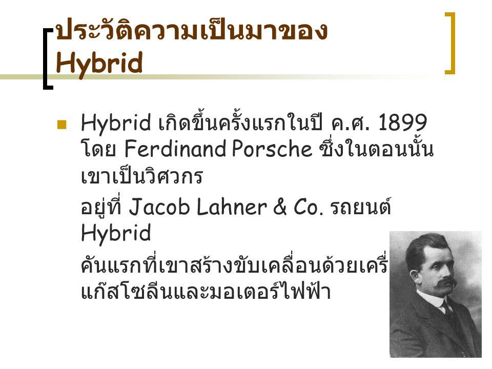 ประวัติความเป็นมาของ Hybrid Hybrid เ กิดขึ้นครั้งแรกในปี ค. ศ. 1899 โดย Ferdinand Porsche ซ ึ่งในตอนนั้น เขาเป็นวิศวกร อยู่ที่ Jacob Lahner & Co. ร ถย
