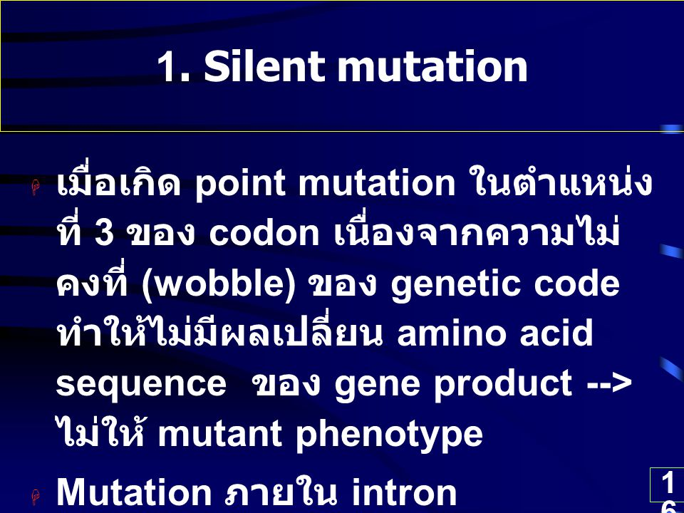 16 1. Silent mutation  เมื่อเกิด point mutation ในตำแหน่ง ที่ 3 ของ codon เนื่องจากความไม่ คงที่ (wobble) ของ genetic code ทำให้ไม่มีผลเปลี่ยน amino