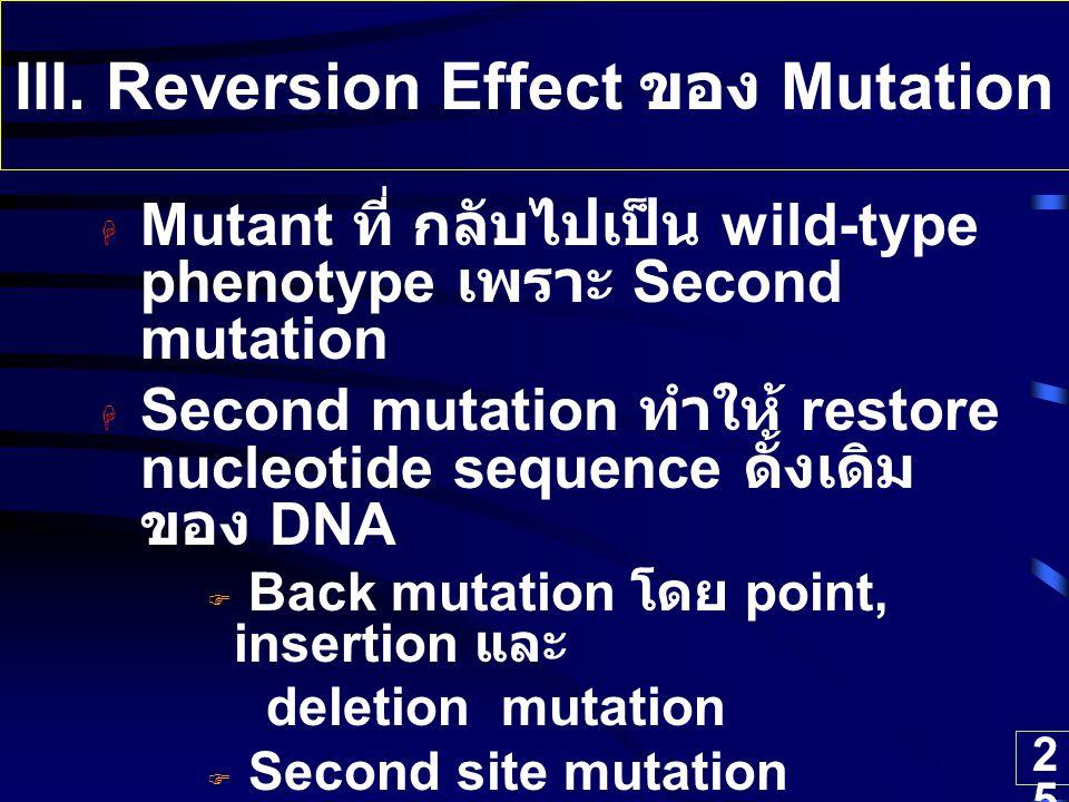 25  Mutant ที่ กลับไปเป็น wild-type phenotype เพราะ Second mutation  Second mutation ทำให้ restore nucleotide sequence ดั้งเดิม ของ DNA  Back mutat