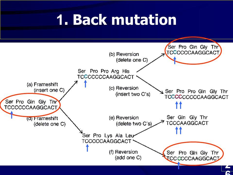 26 1. Back mutation