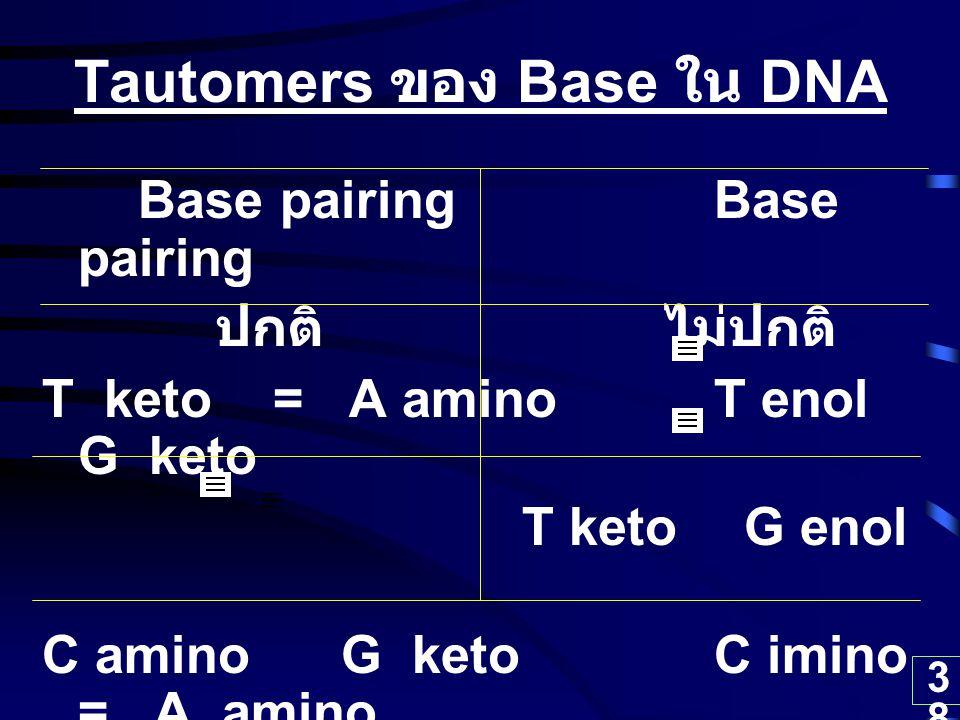 38 Tautomers ของ Base ใน DNA Base pairing ปกติ ไม่ปกติ T keto = A amino T enol G keto T keto G enol C amino G keto C imino = A amino C amino = A imino