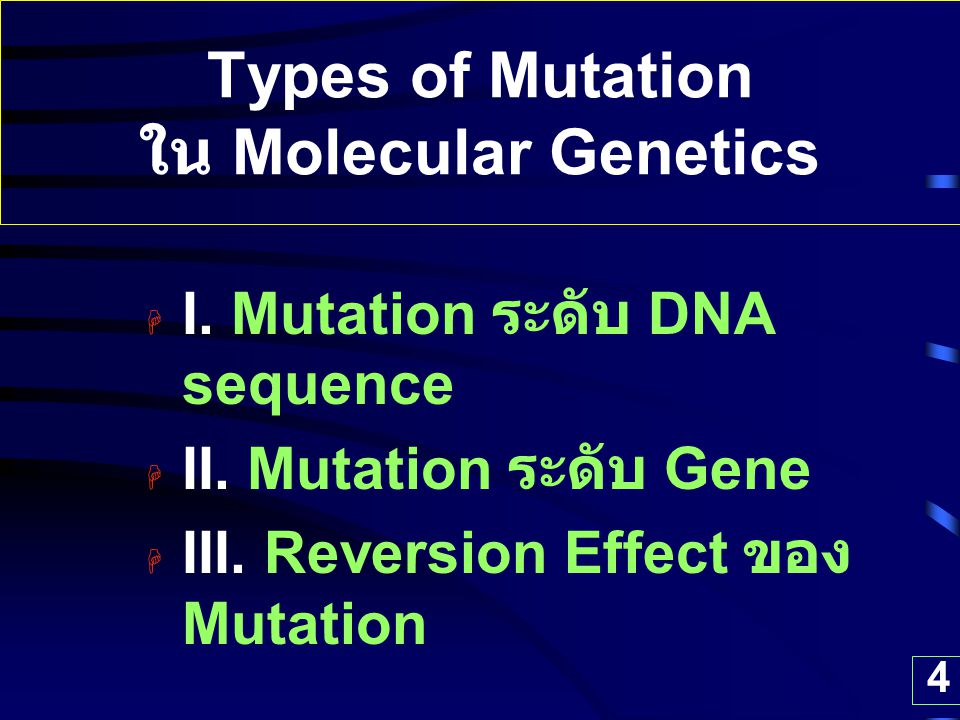 4 Types of Mutation ใน Molecular Genetics  I. Mutation ระดับ DNA sequence  II. Mutation ระดับ Gene  III. Reversion Effect ของ Mutation