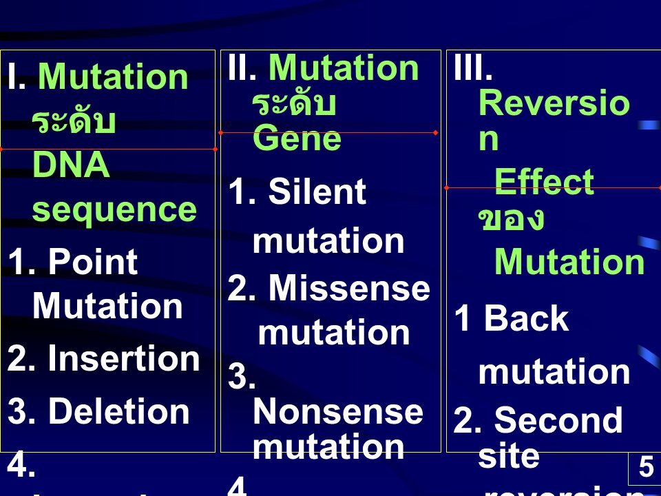 5 I.Mutation ระดับ DNA sequence 1. Point Mutation 2.