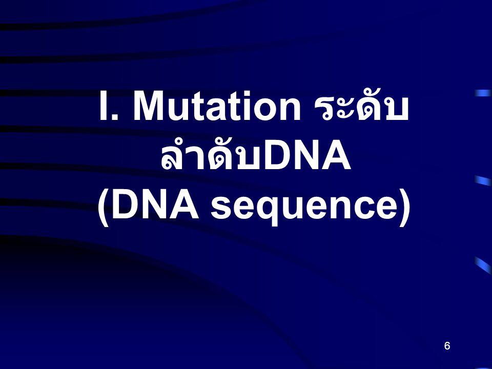 6 I. Mutation ระดับ ลำดับ DNA (DNA sequence)