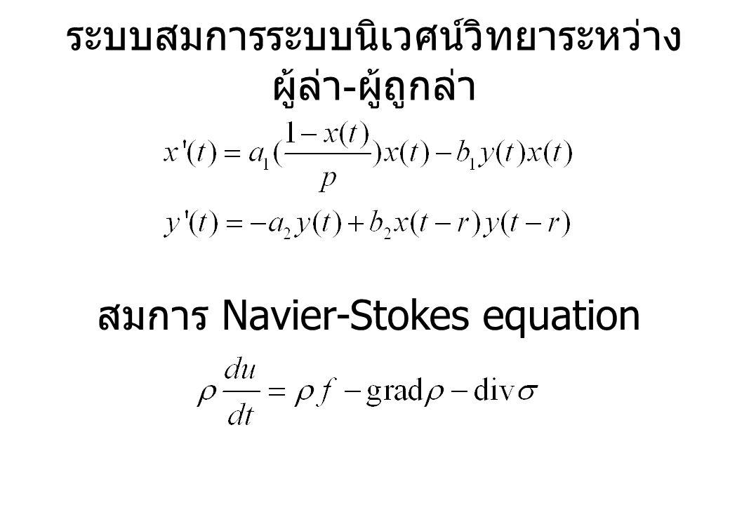 ระบบสมการระบบนิเวศน์วิทยาระหว่าง ผู้ล่า - ผู้ถูกล่า สมการ Navier-Stokes equation