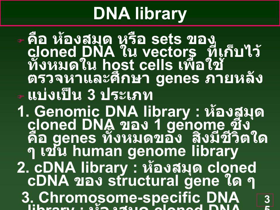 35 DNA library  คือ ห้องสมุด หรือ sets ของ cloned DNA ใน vectors ที่เก็บไว้ ทั้งหมดใน host cells เพื่อใช้ ตรวจหาและศึกษา genes ภายหลัง  แบ่งเป็น 3 ประเภท 1.