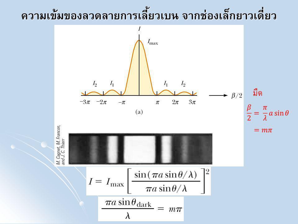 ตัวอย่าง จงหาอัตราส่วนระหว่างความเข้มของแถบสว่างทุติยภูมิ (secondary maxima) อันดับที่ 1 และ 2 ต่อความเข้มของแถบสว่างตรง กลางจากรูป การเกิดแถบสว่างทุติยภูมิจะเกิดระหว่างริ้วมืดสองริ้ว ที่ติดกัน จึงจะใช้ค่าประมาณว่า ริ้วสว่างทุติยภูมิ เกิด ณ ตำแหน่งกึ่งกลางริ้วมืดที่ติดกัน จากสมการ จะเห็นว่าแถบสว่างทุติยภูมิเกิดเมื่อ เท่ากับ