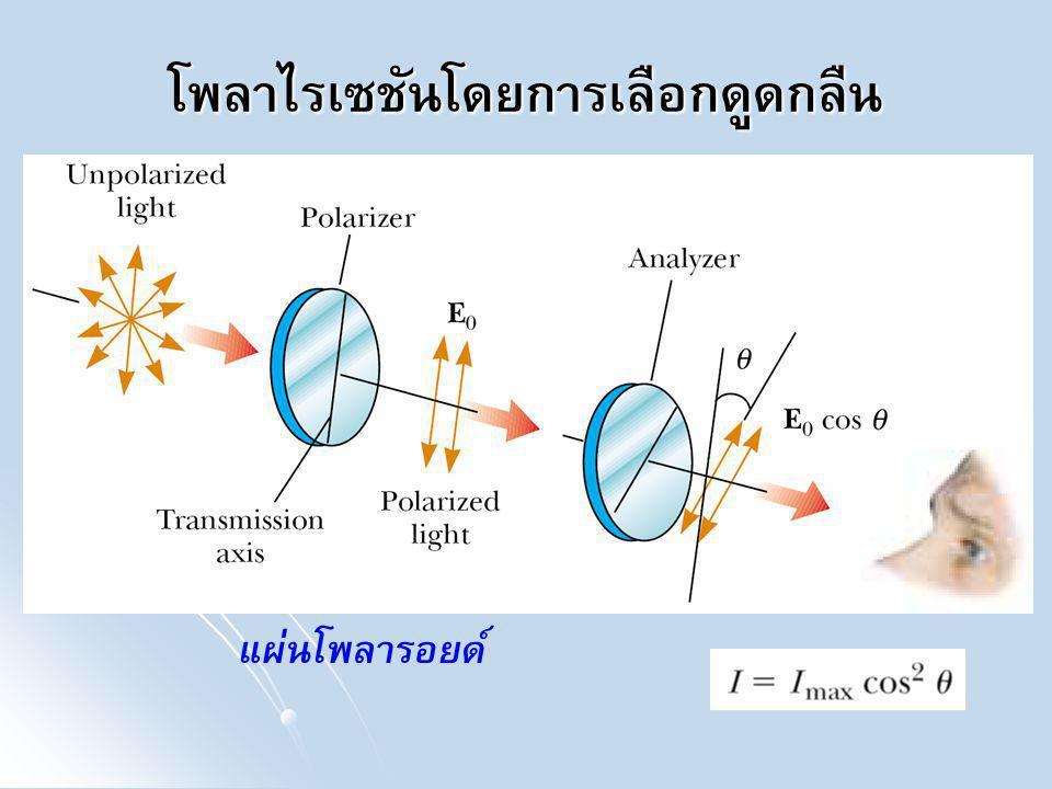 ตัวอย่าง แสงไม่โพลาไรซ์ความเข้ม I 0 ส่องผ่านแผ่นโพลารอยด์ 2 แผ่นดังภาพ โดย หลังจากที่ผ่านแผ่นที่ 1 มีความเข้มของแสงเป็น I 1 ถ้าแกนส่งผ่านของแผ่นที่ 2 ทำมุม 45° กับแผ่นที่ 1 ความเข้มแสงที่ส่องผ่านแผ่นที่ 2 มีค่าเท่าใด ถ้าสมมติว่าแผ่นโพลา รอยด์สามารถส่งผ่านแสงได้โดยสมบูรณ์ ให้เปรียบเทียบความเข้มแสง I 1 กับ I 0