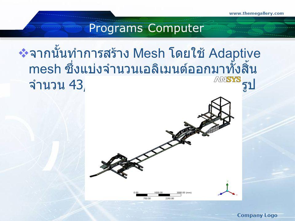 www.themegallery.com Company Logo Programs Computer  จากนั้นทำการสร้าง Mesh โดยใช้ Adaptive mesh ซึ่งแบ่งจำนวนเอลิเมนต์ออกมาทั้งสิ้น จำนวน 43,302 เอลิเมนต์ ตามที่แสดงดังรูป