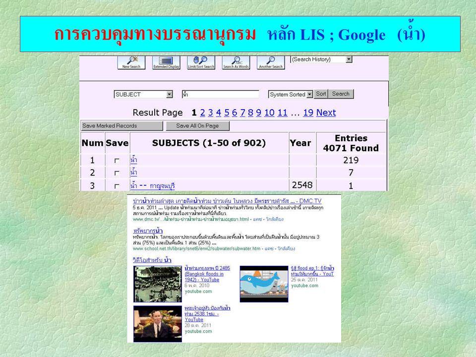 การควบคุมทางบรรณานุกรม หลัก LIS ; Google (น้ำ)