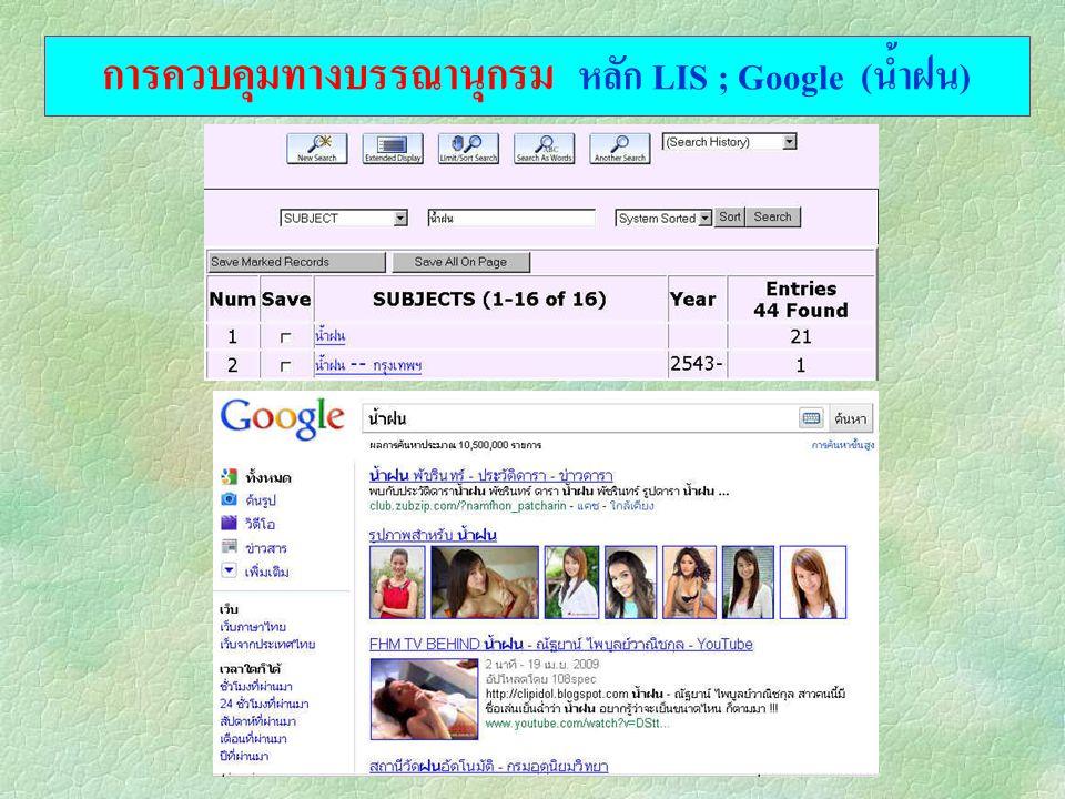 การควบคุมทางบรรณานุกรม หลัก LIS ; Google (น้ำฝน)