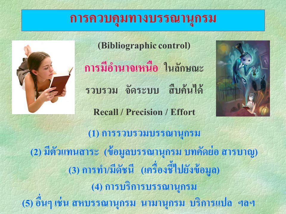 การควบคุมทางบรรณานุกรม (Bibliographic control) การมีอำนาจเหนือ ในลักษณะ รวบรวม จัดระบบ สืบค้นได้ Recall / Precision / Effort (1) การรวบรวมบรรณานุกรม (2) มีตัวแทนสาระ (ข้อมูลบรรณานุกรม บทคัดย่อ สารบาญ) (3) การทำ/มีดัชนี (เครื่องชี้ไปยังข้อมูล) (4) การบริการบรรณานุกรม (5) อื่นๆ เช่น สหบรรณานุกรม นามานุกรม บริการแปล ฯลฯ