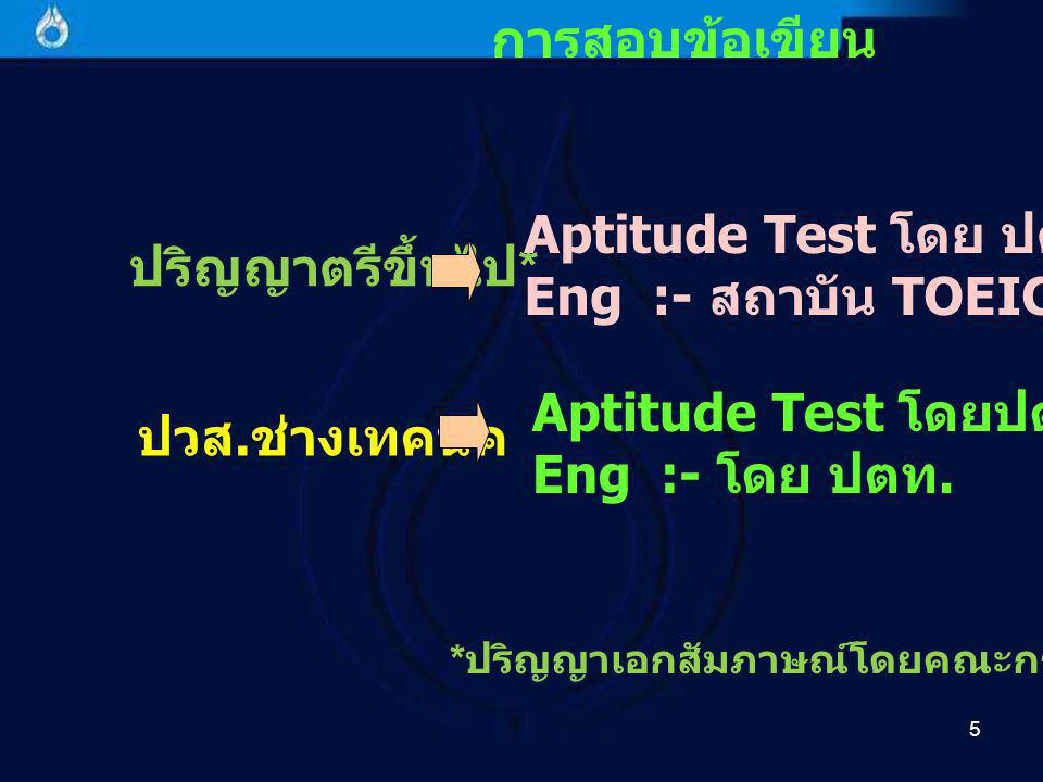 6 รายละเอียดของการสอบ Aptitude Test เป็นข้อสอบวัดความถนัดทาง ปัญญาเกี่ยวกับ - การจับหลักเกณฑ์ (Finding Principles) - ความถนัดเชิงตัวเลข (Numerical Aptitude) - ความถนัดเชิงวิเคราะห์ / การ แก้ปัญหา (Analytic Aptitude)