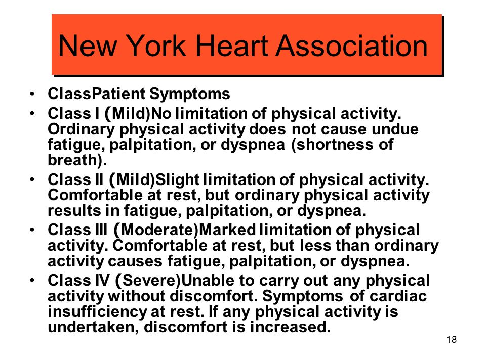 18 New York Heart Association ClassPatient Symptoms Class I (Mild)No limitation of physical activity. Ordinary physical activity does not cause undue