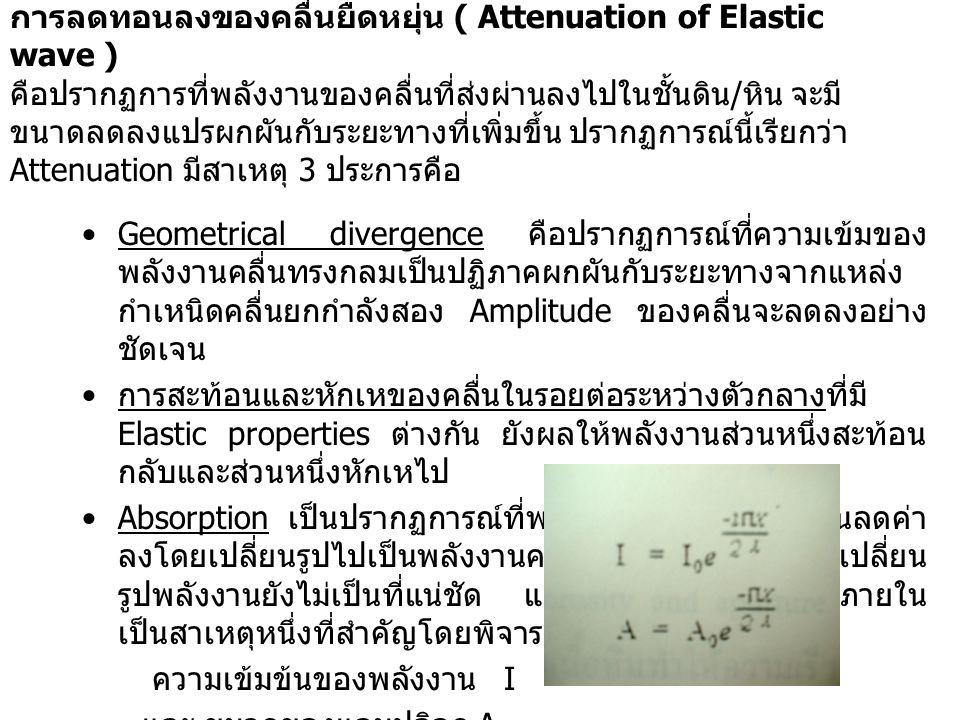 การลดทอนลงของคลื่นยืดหยุ่น ( Attenuation of Elastic wave ) คือปรากฏการที่พลังงานของคลื่นที่ส่งผ่านลงไปในชั้นดิน / หิน จะมี ขนาดลดลงแปรผกผันกับระยะทางท