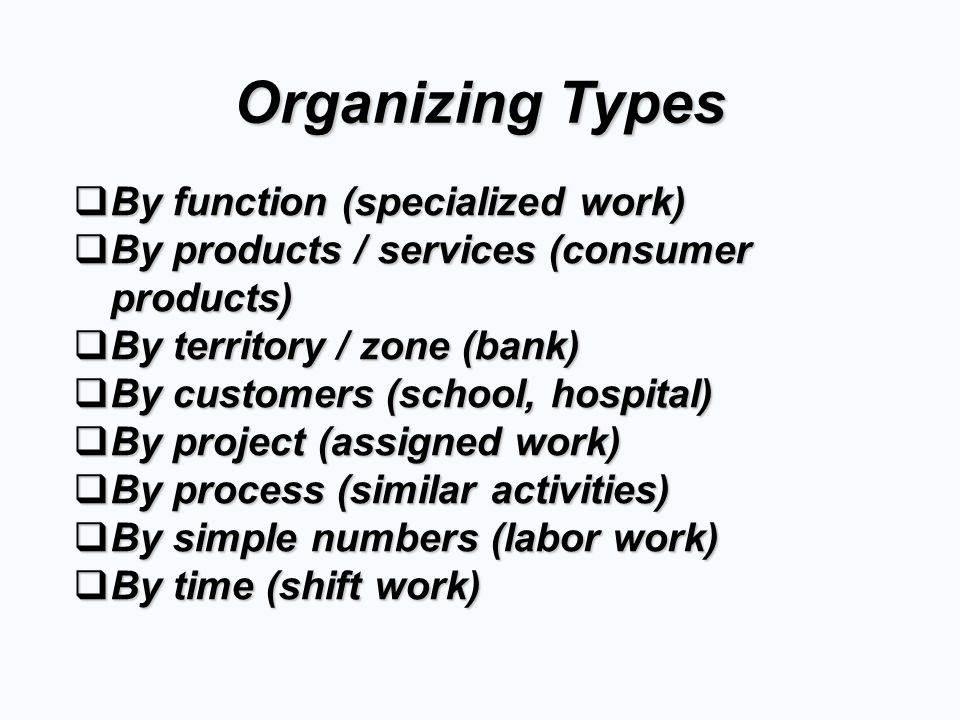 Organizing Types  By function (specialized work)  By products / services (consumer products)  By territory / zone (bank)  By customers (school, hospital)  By project (assigned work)  By process (similar activities)  By simple numbers (labor work)  By time (shift work)