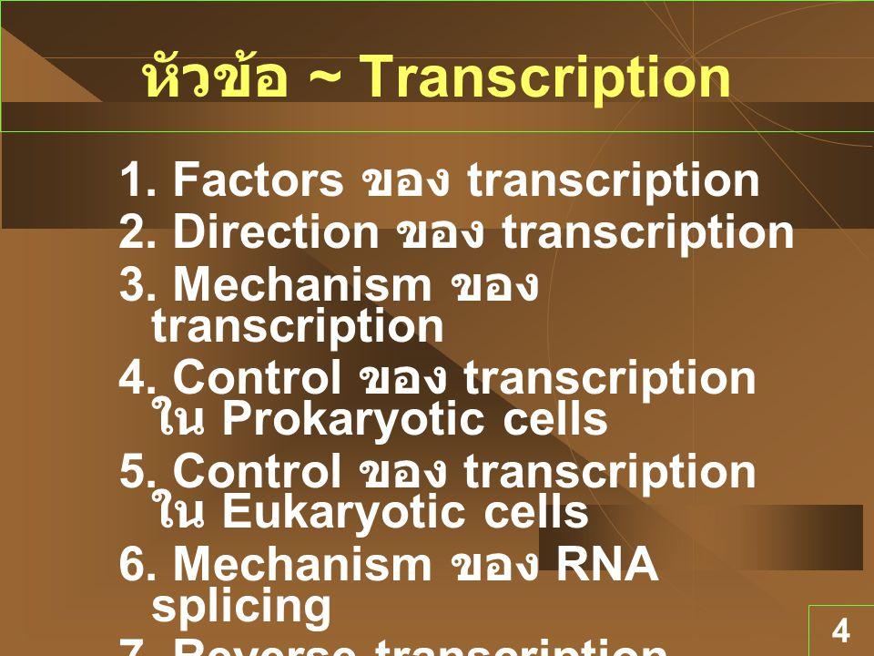 4 หัวข้อ ~ Transcription 1. Factors ของ transcription 2. Direction ของ transcription 3. Mechanism ของ transcription 4. Control ของ transcription ใน Pr