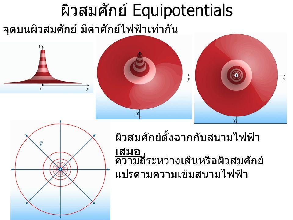 ผิวสมศักย์ Equipotentials จุดบนผิวสมศักย์ มีค่าศักย์ไฟฟ้าเท่ากัน Equipotentials produced by a point charge ผิวสมศักย์ตั้งฉากกับสนามไฟฟ้า เสมอ ความถี่ร