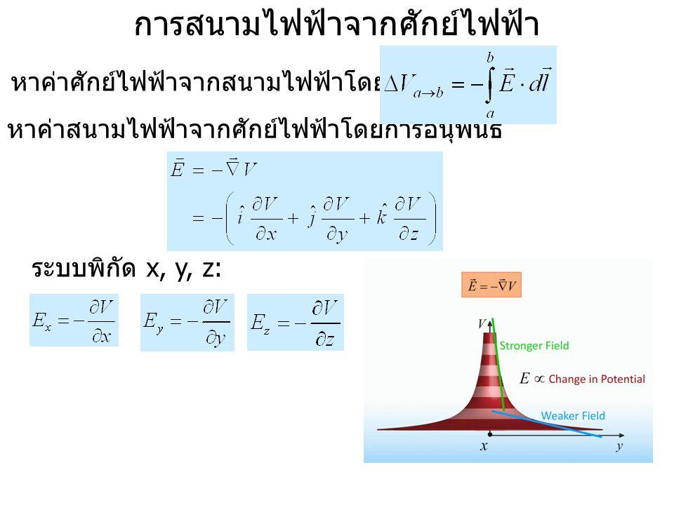 การสนามไฟฟ้าจากศักย์ไฟฟ้า หาค่าศักย์ไฟฟ้าจากสนามไฟฟ้าโดยการอินทิเกรต : หาค่าสนามไฟฟ้าจากศักย์ไฟฟ้าโดยการอนุพันธ์ ระบบพิกัด x, y, z:
