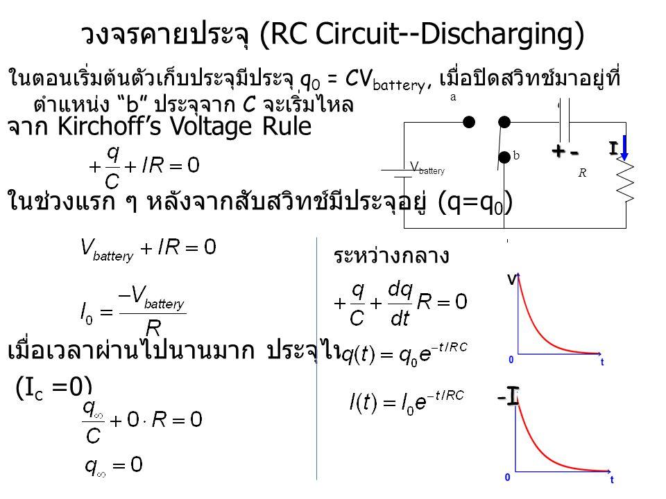 R V battery C a b R C a b วงจรคายประจุ (RC Circuit--Discharging) จาก Kirchoff's Voltage Rule ในช่วงแรก ๆ หลังจากสับสวิทช์มีประจุอยู่ (q=q 0 ) เมื่อเวล