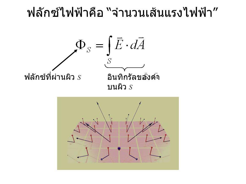 ฟลักซ์ไฟฟ้าคือ จำนวนเส้นแรงไฟฟ้า ฟลักซ์ที่ผ่านผิว S อินทิกรัลของค่า บนผิว S
