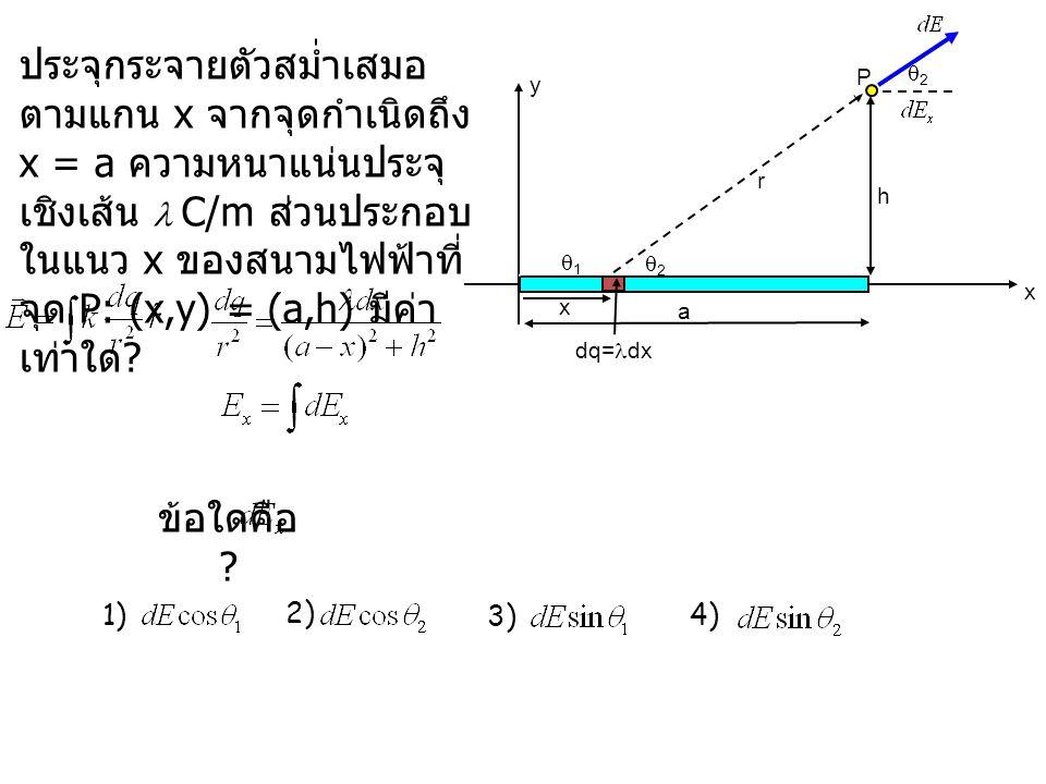 33 We know: x y a h P x r dq= dx 11 22 22 ข้อใดคือ .