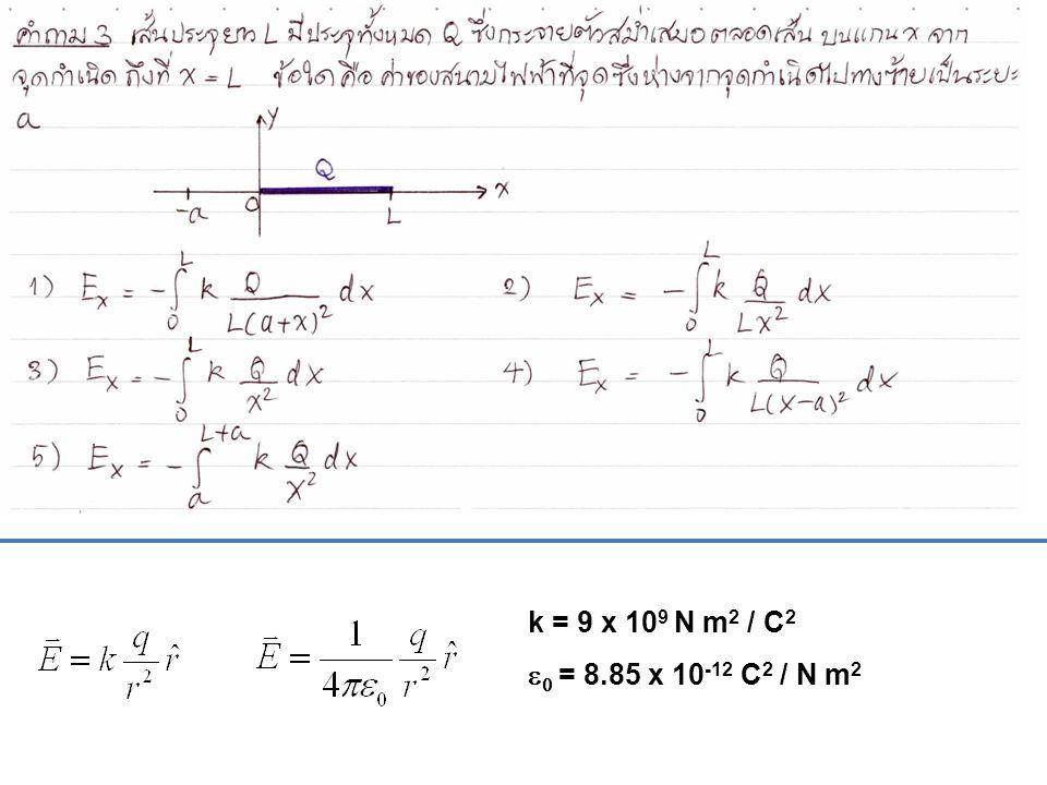k = 9 x 10 9 N m 2 / C 2   = 8.85 x 10 -12 C 2 / N m 2