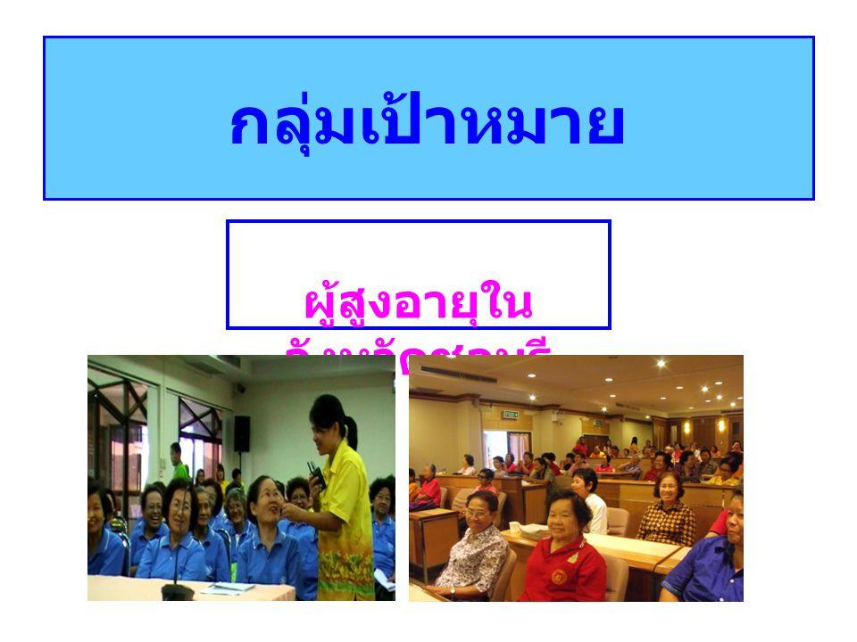 กลุ่มเป้าหมาย ผู้สูงอายุใน จังหวัดชลบุรี