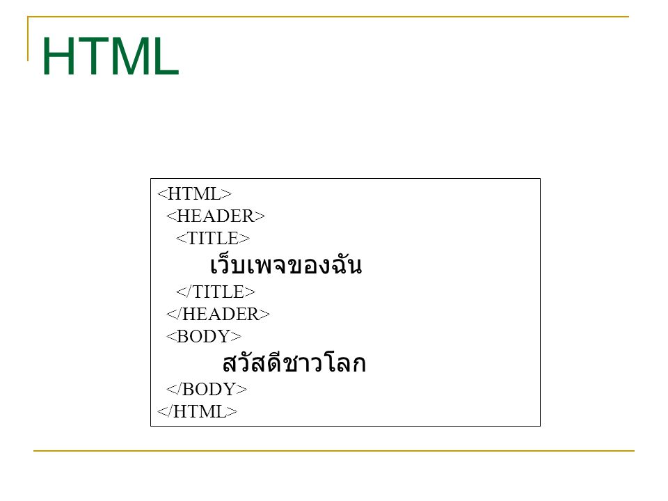 HTML เว็บเพจของฉัน สวัสดีชาวโลก