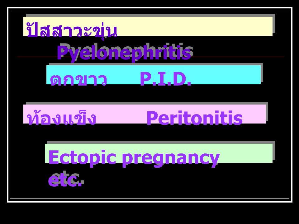 ปวดท้อง + ไข้ต่ำ ๆ คลื่นไส้ Appendicitis ไข้หนาวสั่น Pyelonephritis Biliary infection ไข้หนาวสั่น Pyelonephritis Biliary infection อาเจียน Bowel obstr