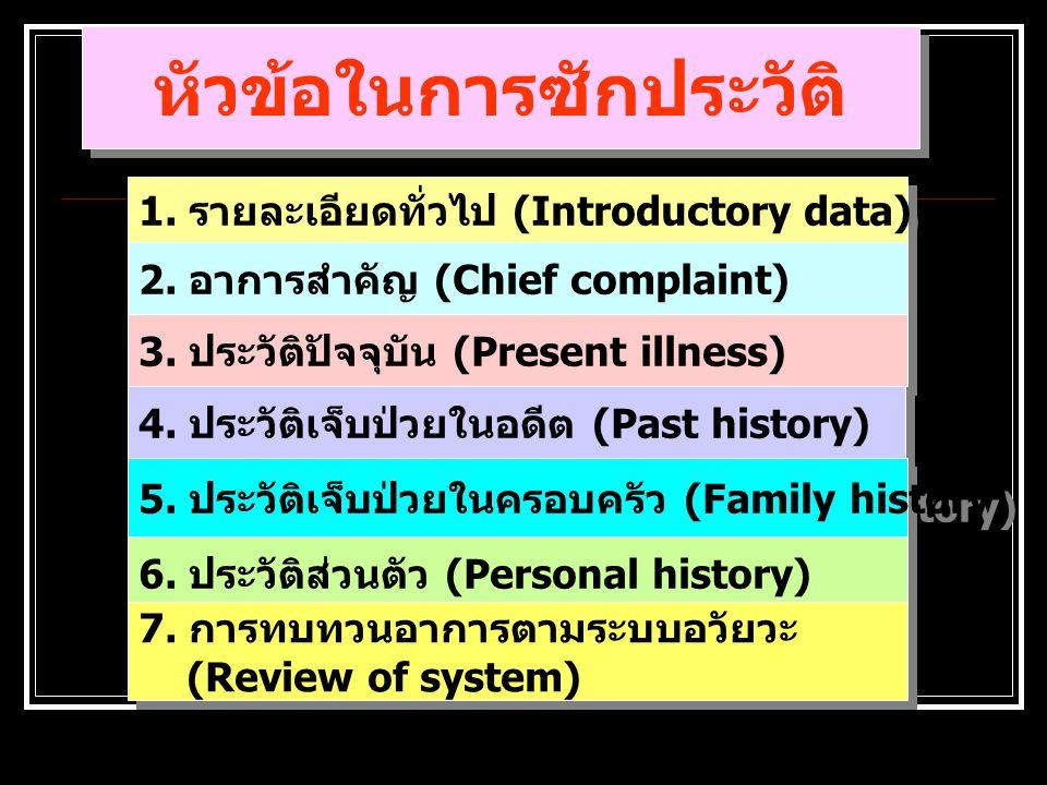หัวข้อในการซักประวัติ 1.รายละเอียดทั่วไป (Introductory data) 2.