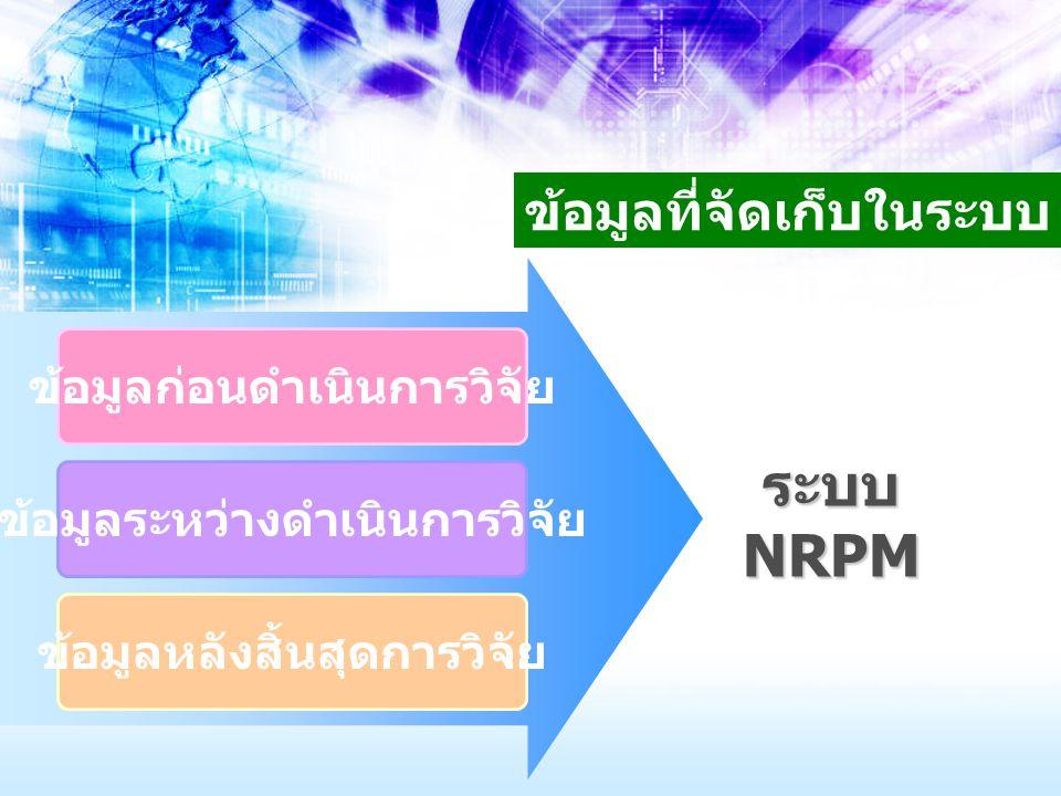ข้อมูลที่จัดเก็บในระบบ ข้อมูลก่อนดำเนินการวิจัย ข้อมูลระหว่างดำเนินการวิจัย ข้อมูลหลังสิ้นสุดการวิจัย ระบบ NRPM