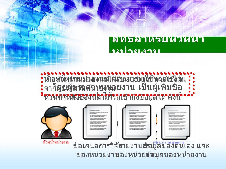 สิทธิสำหรับหัวหน้า หน่วยงาน หัวหน้าหน่วยงานสามารถเข้าใช้ระบบได้ โดยผู้ประสานหน่วยงาน เป็นผู้เพิ่มชื่อ และ account ให้ account เมื่อหัวหน้าหน่วยงานได้ร