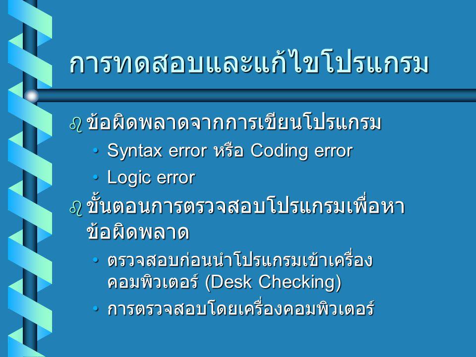 การทดสอบและแก้ไขโปรแกรม  ข้อผิดพลาดจากการเขียนโปรแกรม Syntax error หรือ Coding errorSyntax error หรือ Coding error Logic errorLogic error  ขั้นตอนการตรวจสอบโปรแกรมเพื่อหา ข้อผิดพลาด ตรวจสอบก่อนนำโปรแกรมเข้าเครื่อง คอมพิวเตอร์ (Desk Checking) ตรวจสอบก่อนนำโปรแกรมเข้าเครื่อง คอมพิวเตอร์ (Desk Checking) การตรวจสอบโดยเครื่องคอมพิวเตอร์ การตรวจสอบโดยเครื่องคอมพิวเตอร์