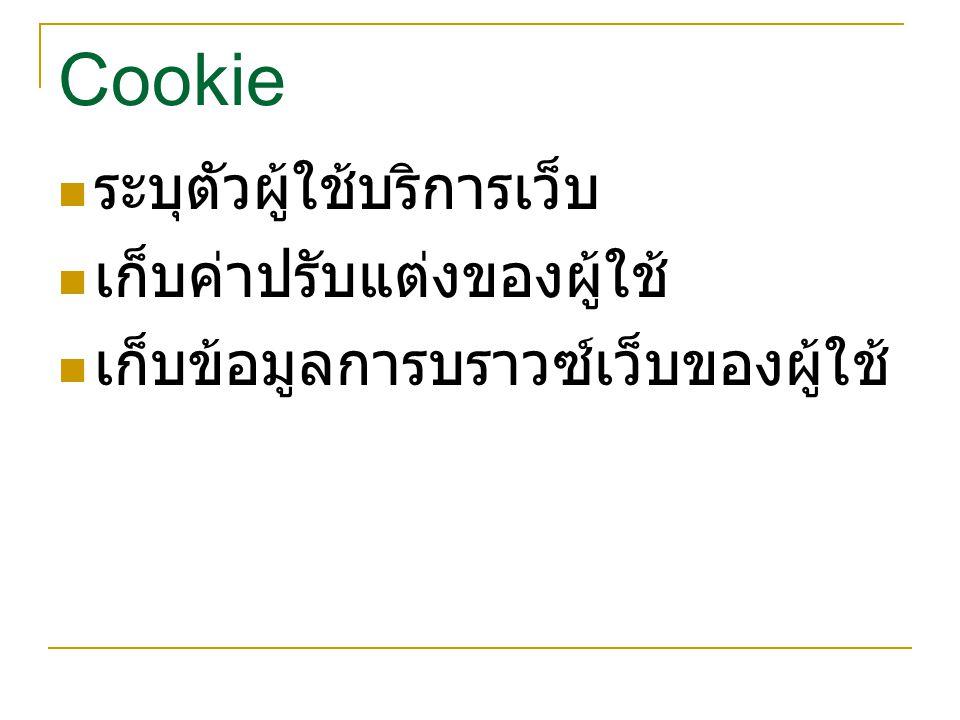 Cookie ระบุตัวผู้ใช้บริการเว็บ เก็บค่าปรับแต่งของผู้ใช้ เก็บข้อมูลการบราวซ์เว็บของผู้ใช้