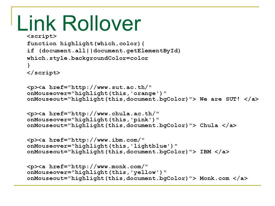 Link Rollover