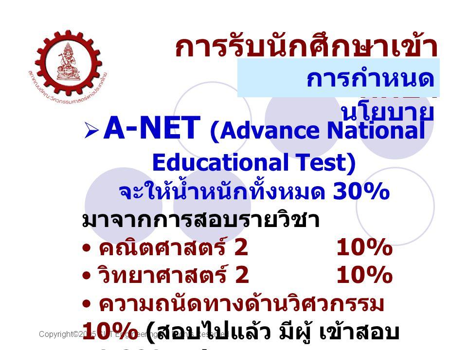 Copyright©2005 SUT Engineering All Rights Reserved  A-NET (Advance National Educational Test) จะให้น้ำหนักทั้งหมด 30% มาจากการสอบรายวิชา คณิตศาสตร์ 210% วิทยาศาสตร์ 210% ความถนัดทางด้านวิศวกรรม 10% ( สอบไปแล้ว มีผู้ เข้าสอบ 49,880 คน ) การรับนักศึกษาเข้า ศึกษา การกำหนด นโยบาย