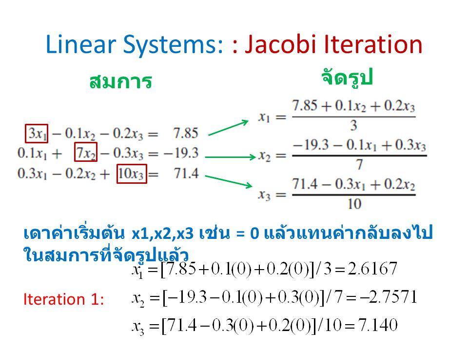 Linear Systems: : Jacobi Iteration สมการ จัดรูป เดาค่าเริ่มต้น x1,x2,x3 เช่น = 0 แล้วแทนค่ากลับลงไป ในสมการที่จัดรูปแล้ว Iteration 1: