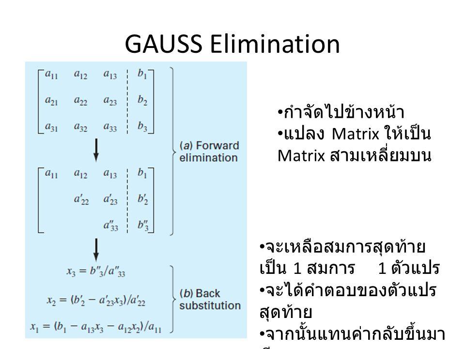 GAUSS Elimination กำจัดไปข้างหน้า แปลง Matrix ให้เป็น Matrix สามเหลี่ยมบน จะเหลือสมการสุดท้าย เป็น 1 สมการ 1 ตัวแปร จะได้คำตอบของตัวแปร สุดท้าย จากนั้นแทนค่ากลับขึ้นมา ทีละสมการ