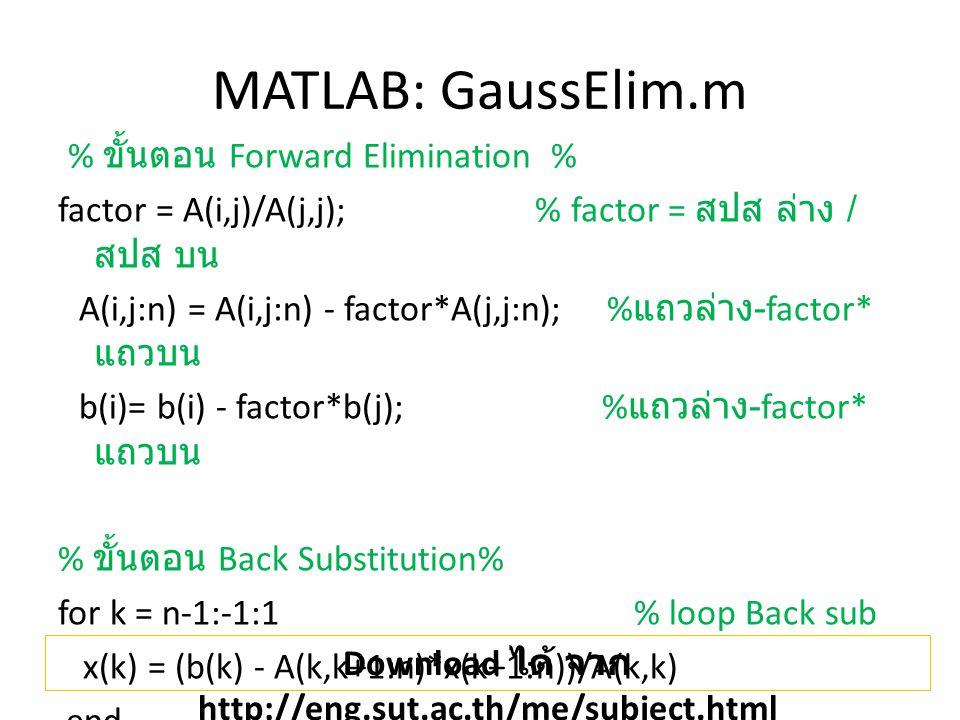 MATLAB: GaussElim.m % ขั้นตอน Forward Elimination % factor = A(i,j)/A(j,j); % factor = สปส ล่าง / สปส บน A(i,j:n) = A(i,j:n) - factor*A(j,j:n); % แถวล่าง -factor* แถวบน b(i)= b(i) - factor*b(j); % แถวล่าง -factor* แถวบน % ขั้นตอน Back Substitution% for k = n-1:-1:1 % loop Back sub x(k) = (b(k) - A(k,k+1:n)*x(k+1:n))/A(k,k) end Download ได้ จาก http://eng.sut.ac.th/me/subject.html