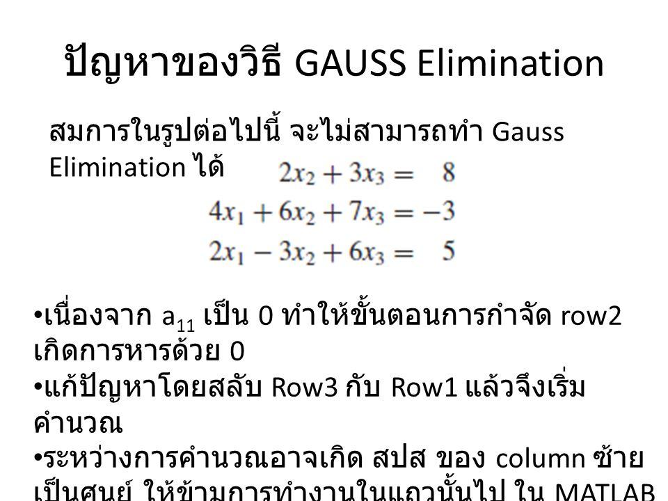 ปัญหาของวิธี GAUSS Elimination สมการในรูปต่อไปนี้ จะไม่สามารถทำ Gauss Elimination ได้ เนื่องจาก a 11 เป็น 0 ทำให้ขั้นตอนการกำจัด row2 เกิดการหารด้วย 0 แก้ปัญหาโดยสลับ Row3 กับ Row1 แล้วจึงเริ่ม คำนวณ ระหว่างการคำนวณอาจเกิด สปส ของ column ซ้าย เป็นศูนย์ ให้ข้ามการทำงานในแถวนั้นไป ใน MATLAB คือบรรทัด : if A(i,j)~=0 เรียกว่าการทำ Pivoting